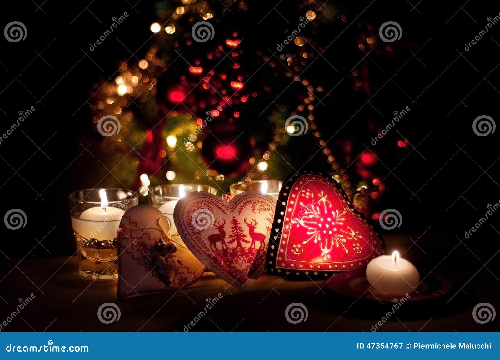 Corazones decoraciones y luces de la navidad feliz - Decoracion luces navidad ...