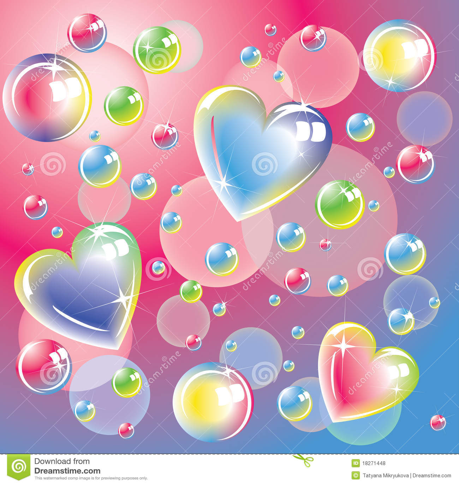 Corazones Del Color Y Burbujas De Jabón Brillantes Ilustración Del