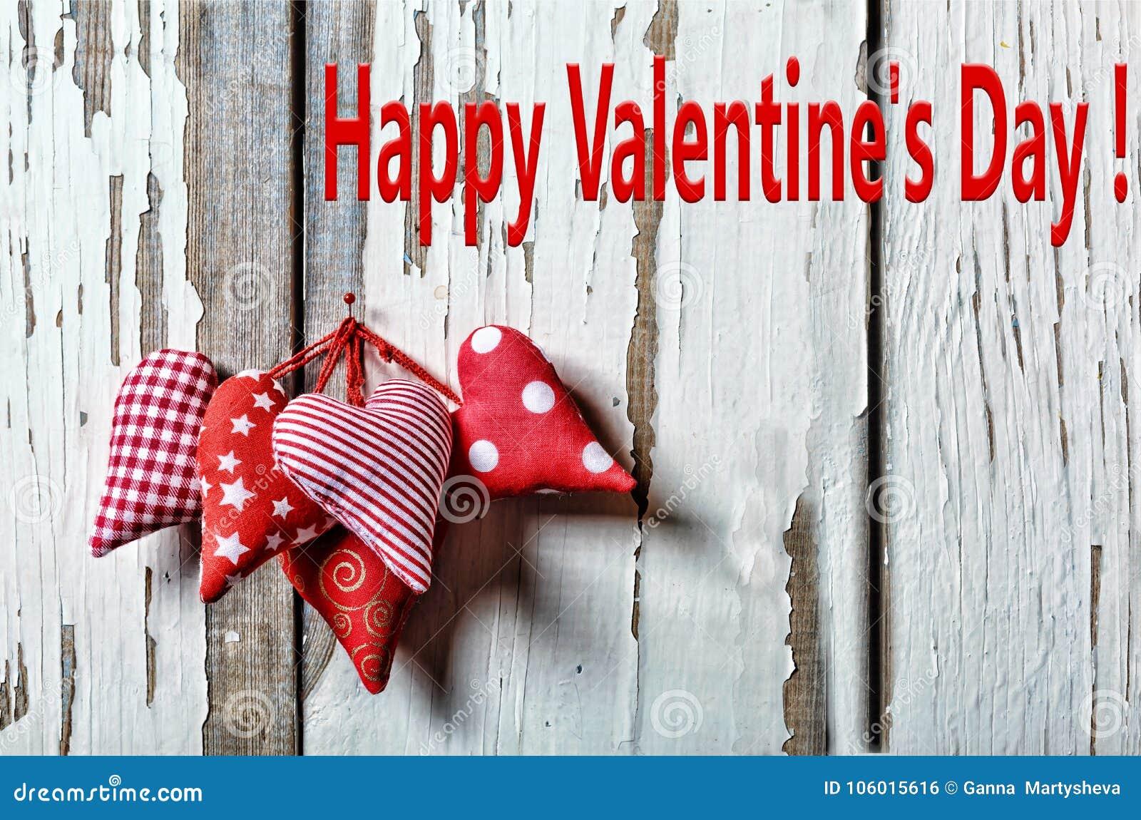 Corazones del día del `s de la tarjeta del día de San Valentín El 14 de febrero valentines