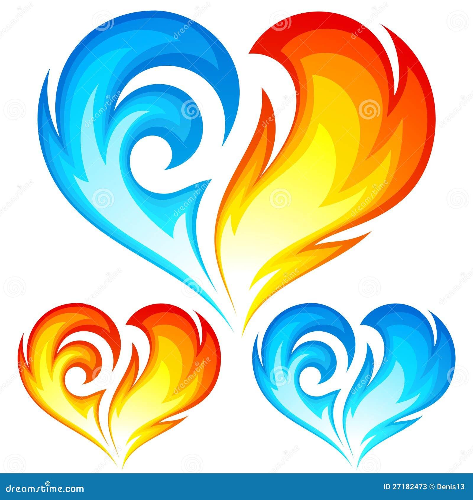 Corazones del vector del fuego y del hielo. Símbolo del amor