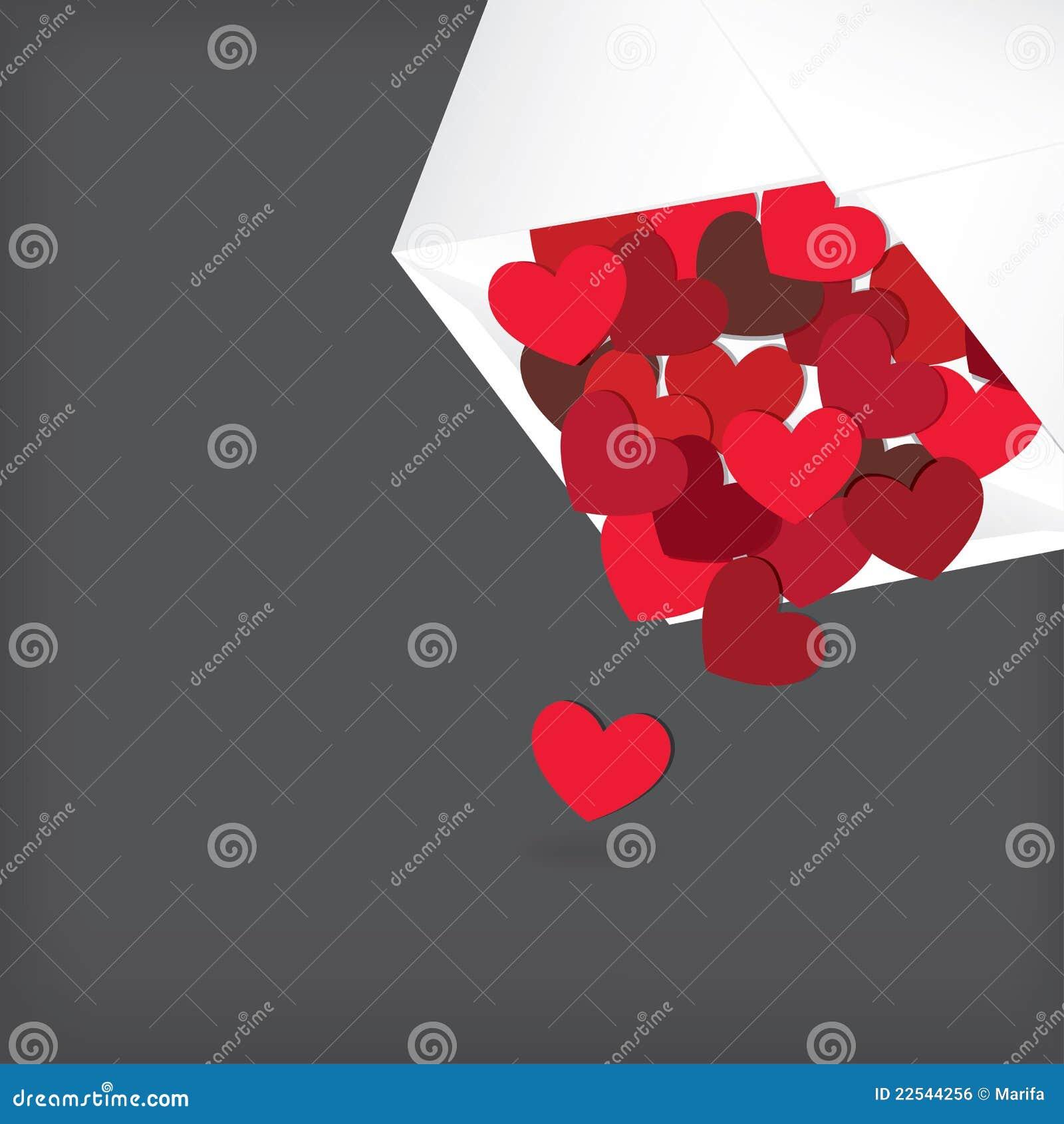 Corazones En El Sobre Blanco Carta De Amor Ilustración Del Vector