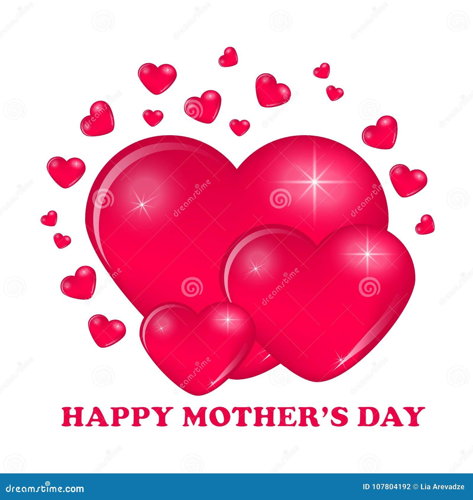 Corazones Felices Del Diseño De Tarjeta Del Día De La Madre