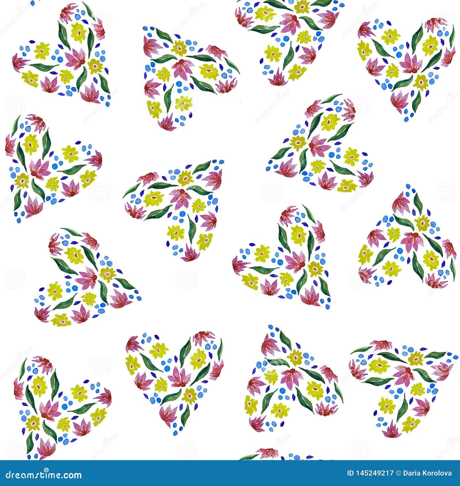 Corazones florales Modelo incons?til de las flores y de las hojas de la acuarela