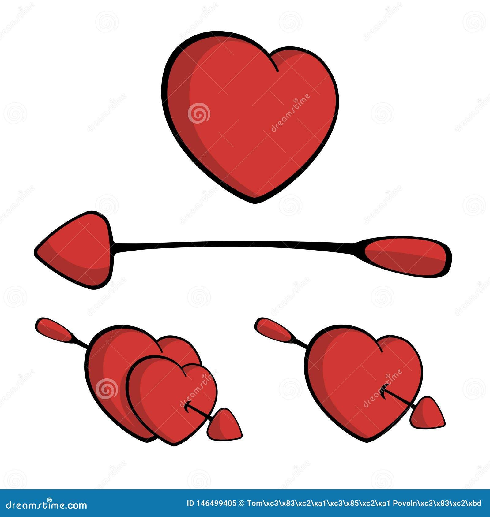 Corazones perforados con la flecha, cayendo en vector del amor
