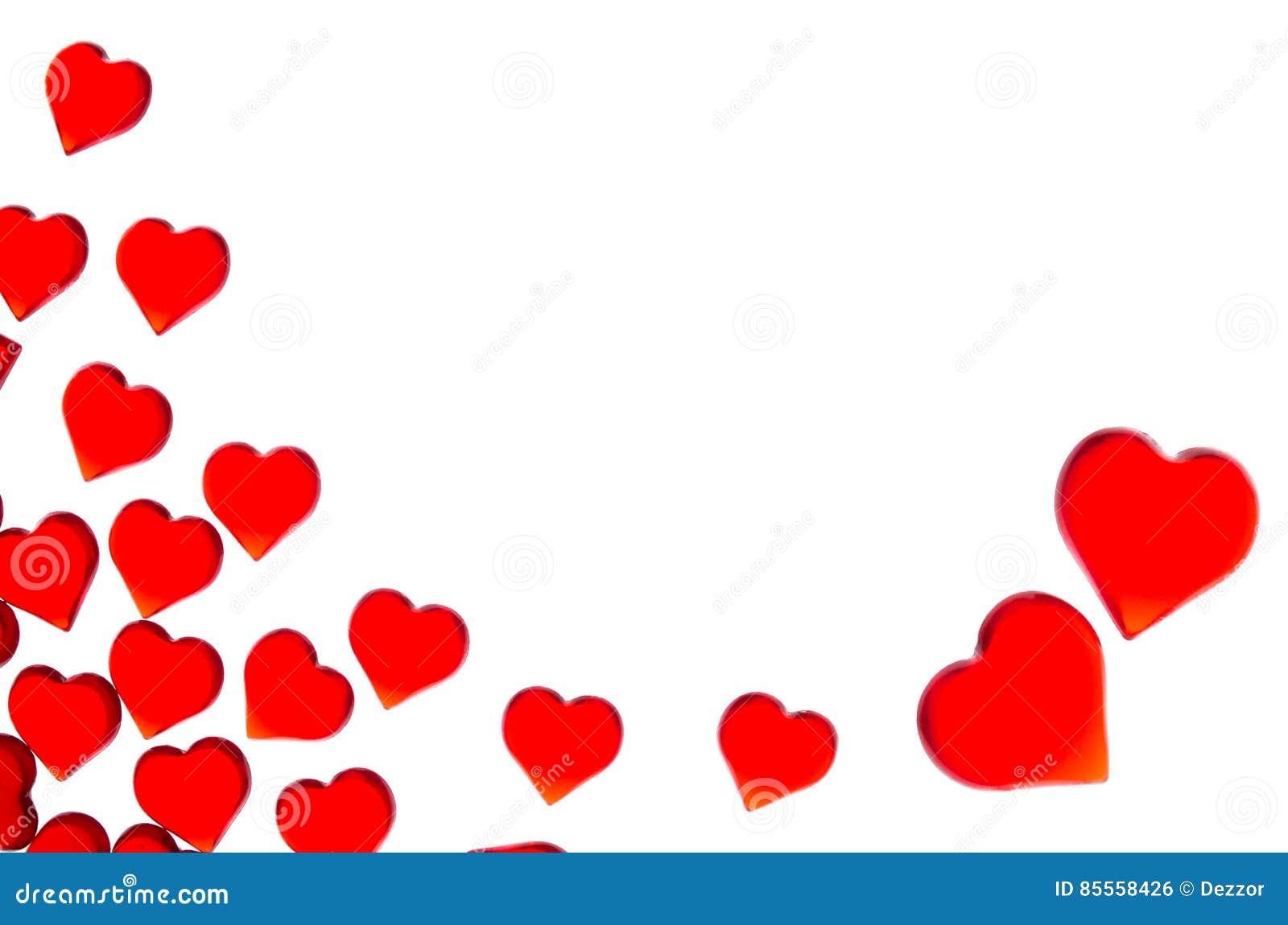 Corazones rojos brillantes en dos corazones grandes en la esquina derecha Para utilizar día del ` s de la tarjeta del día de San