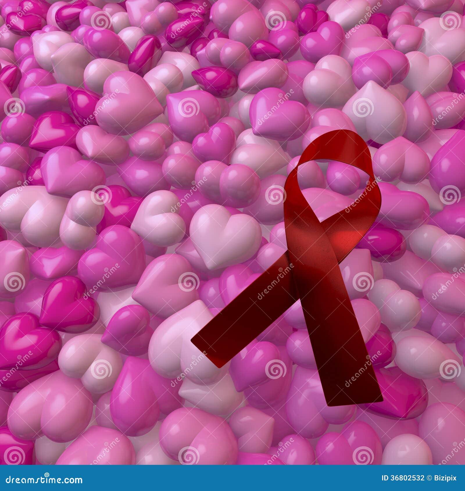 Corazones rosados con el arco del VIH/de las ayudas