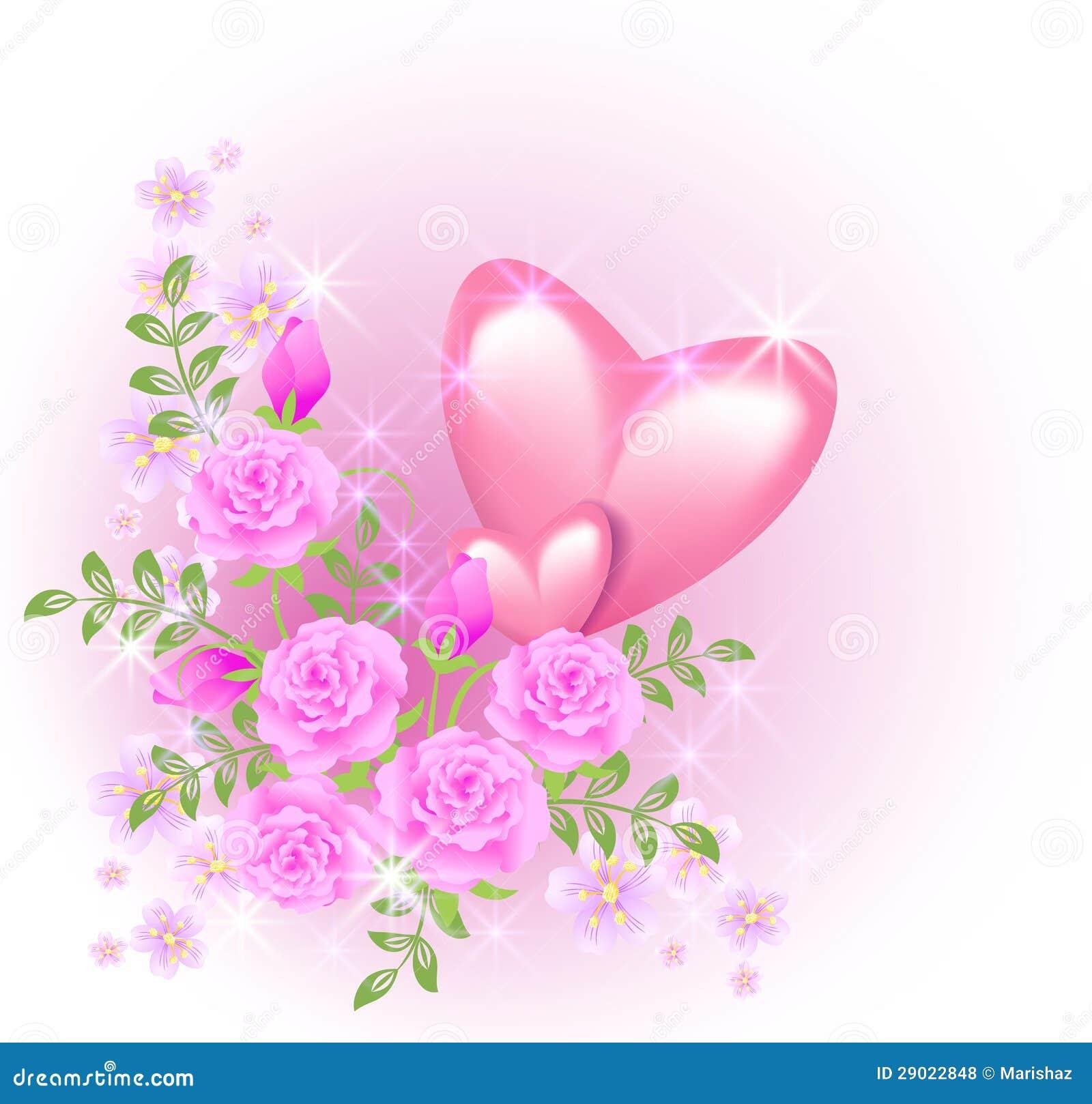 Corazones Rosados Con Las Flores Ilustracion Del Vector