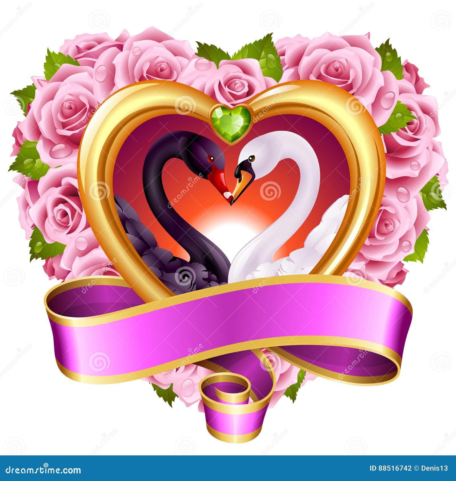 download corazones rosas y cisnes ilustracin del vector ilustracin de concepto 88516742