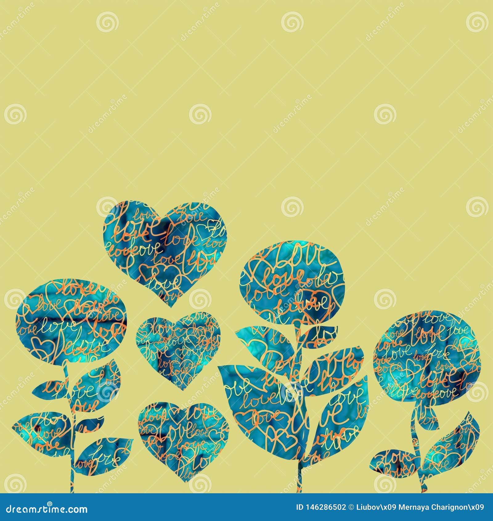 Corazones y flores del collage en un fondo amarillo con palabras del amor