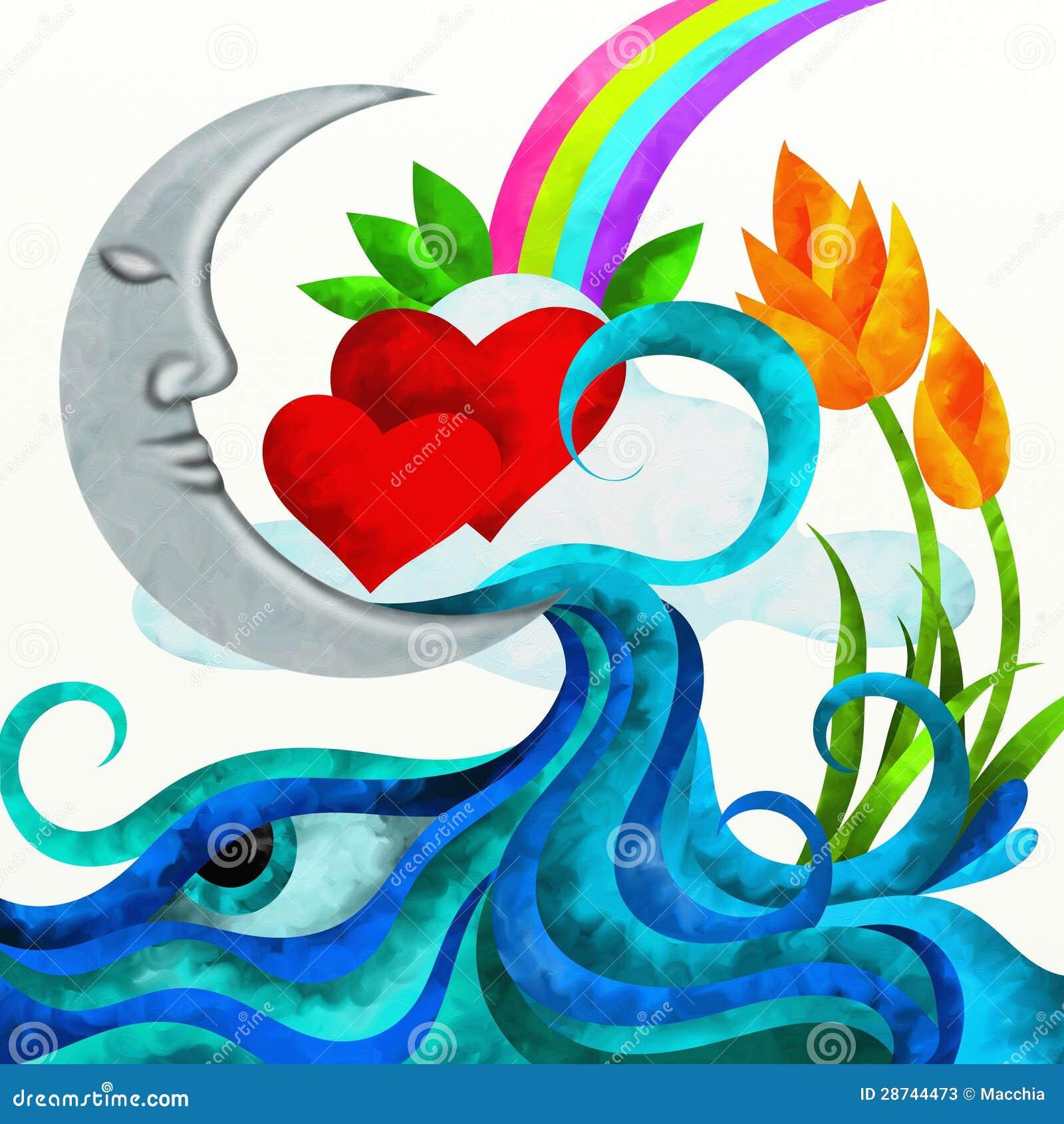 Corazones y luna rojos