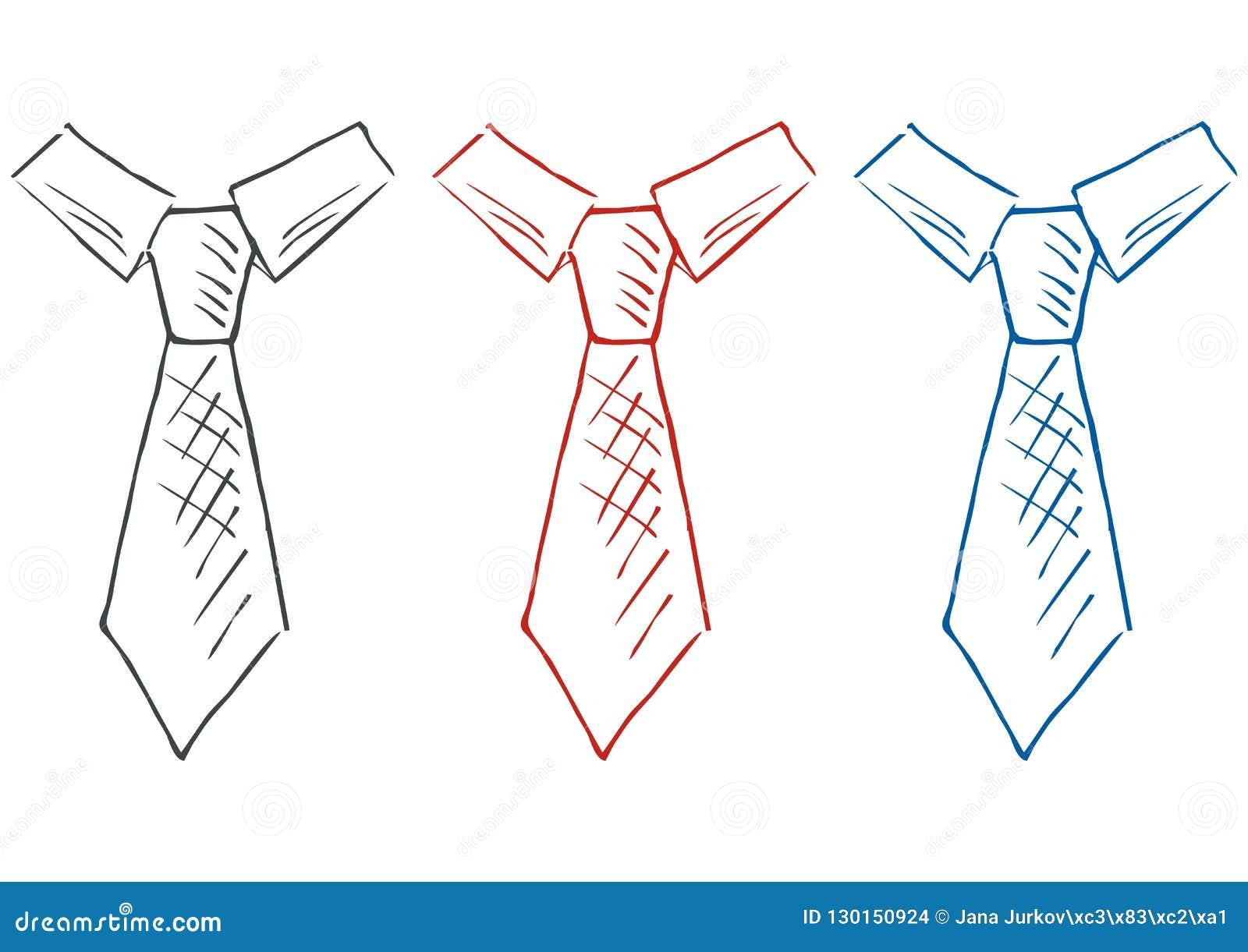 Corbata Sistema Coloreado Bosquejo Icono Del Vector