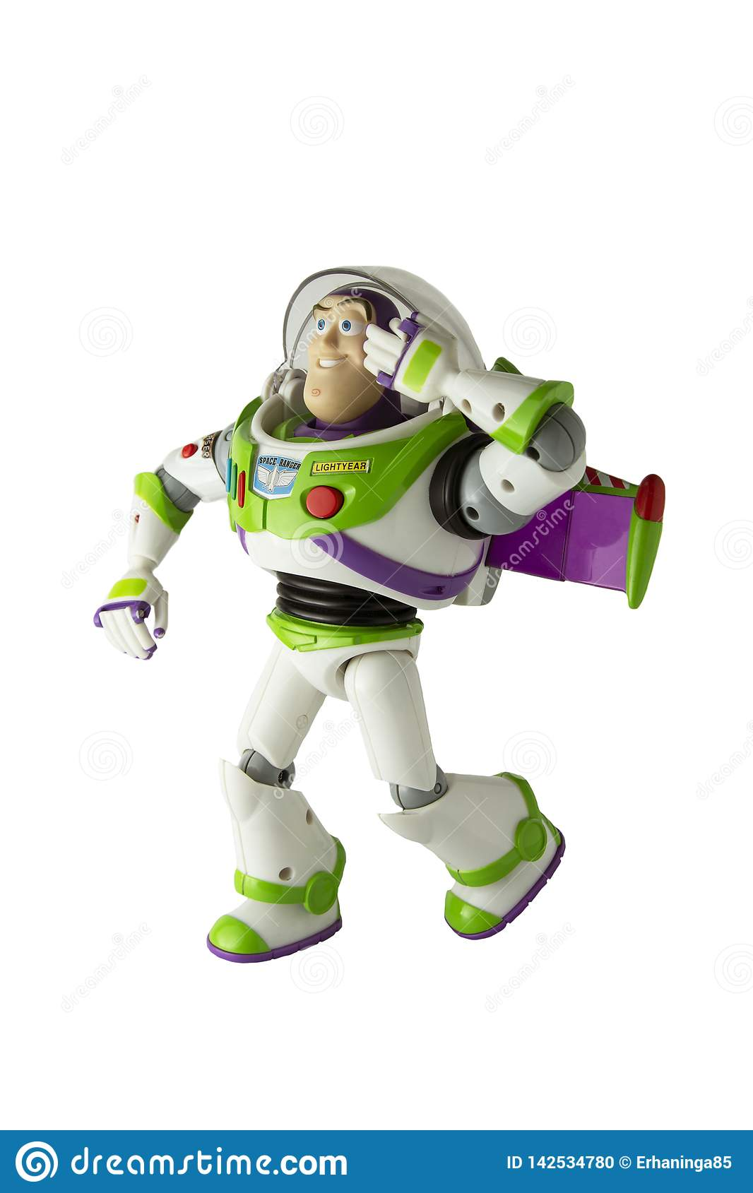 Corby, U K, March 20, 2019: Buzz Lightyear Robot Toy Character Form
