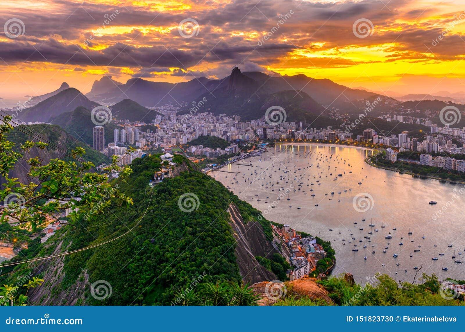 Corcovado, Botafogo and Guanabara bay in Rio de Janeiro. Brazil
