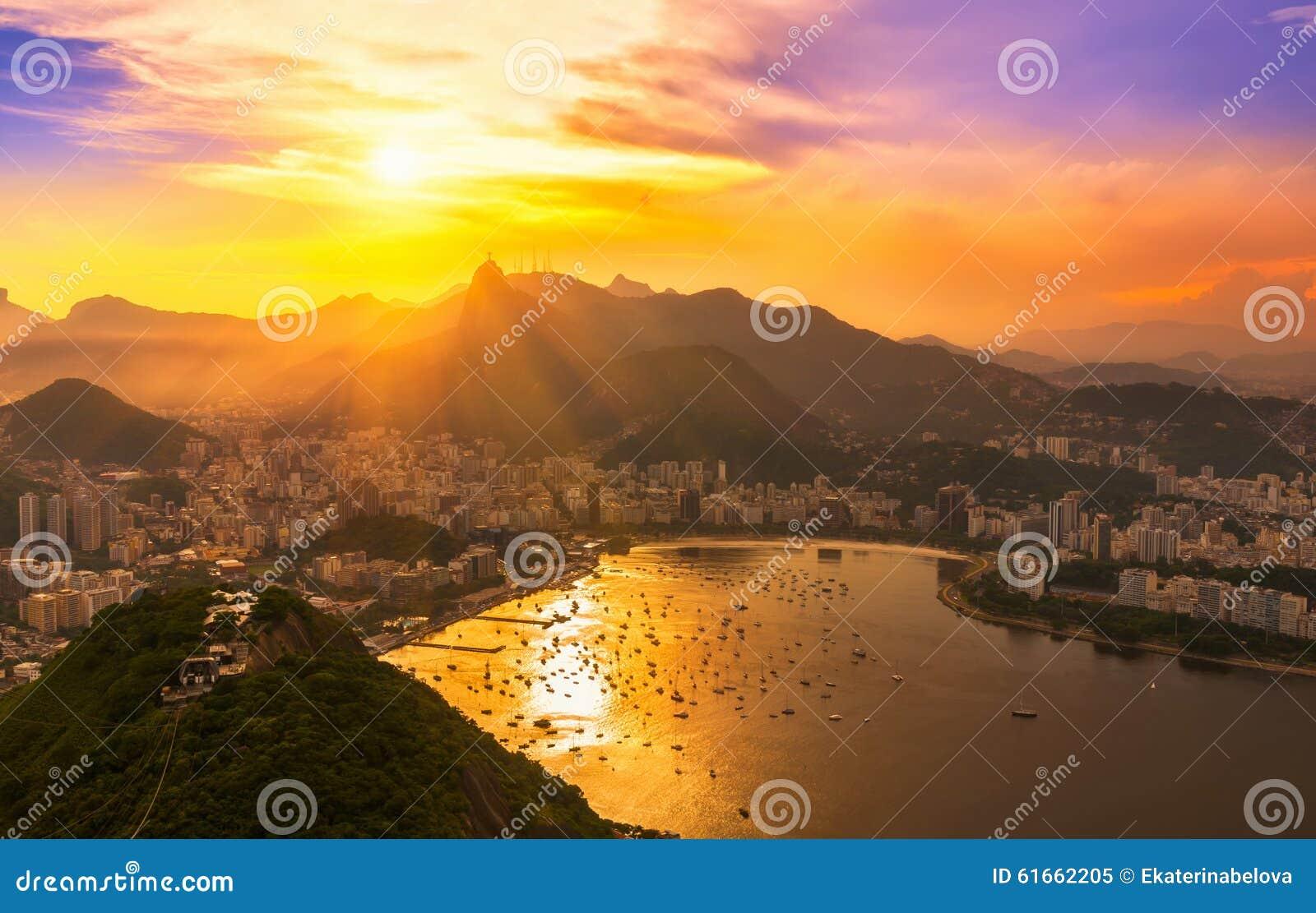 Corcovado and Botafogo in Rio de Janeiro. Brazil