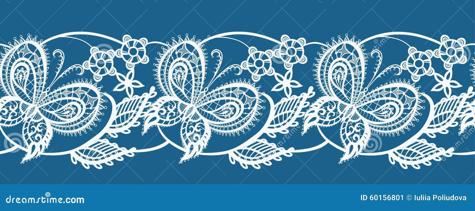 Cordón abstracto de la cinta con las flores y las mariposas