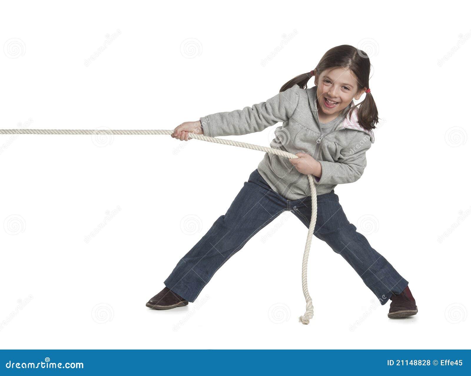 Corda puxando do miúdo