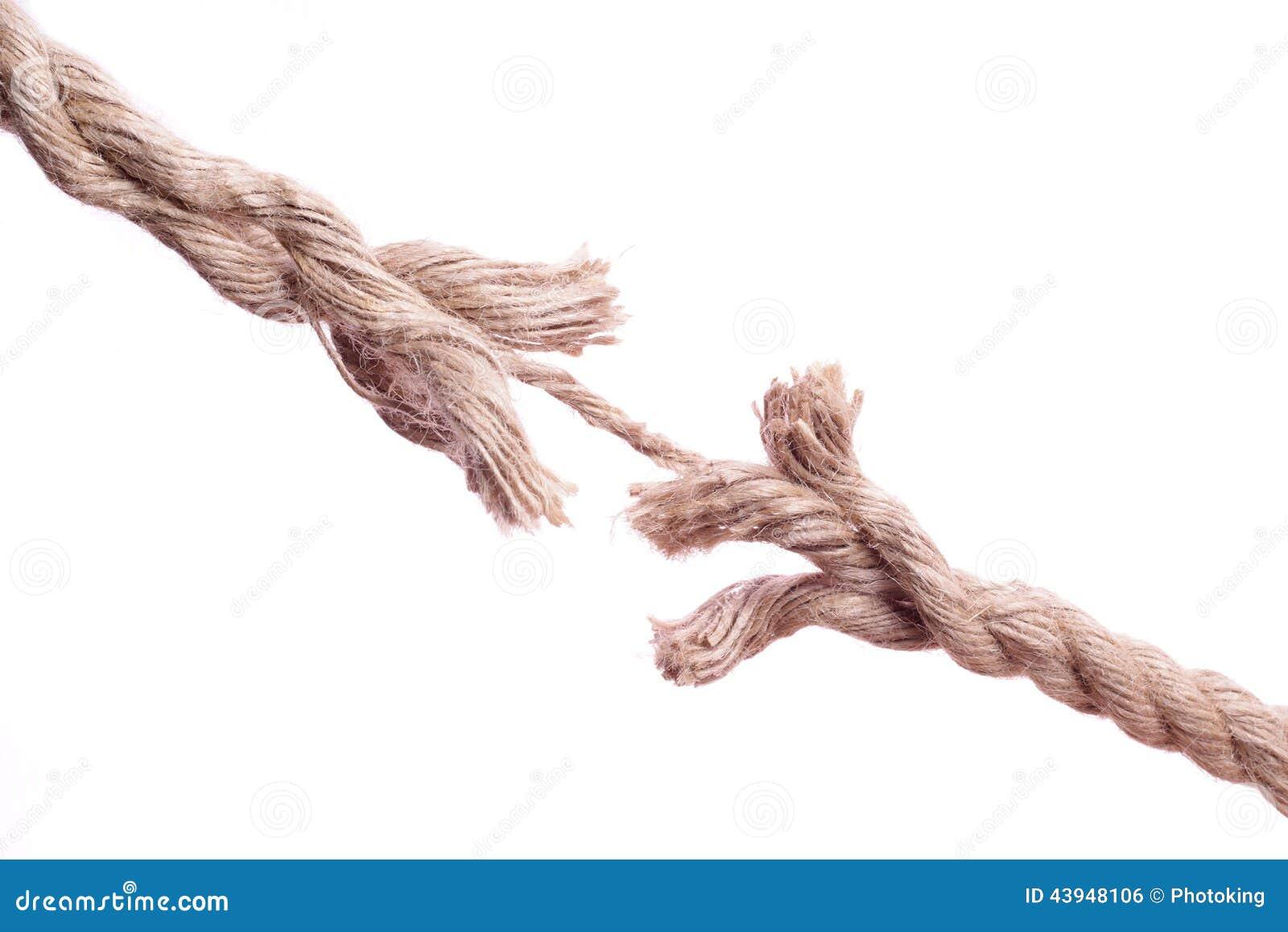 Corda sfilacciata circa da rompersi