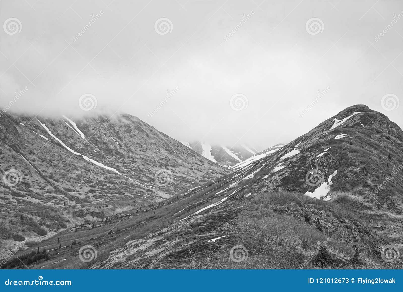 Cordilheira preto e branco do Alaskan da foto