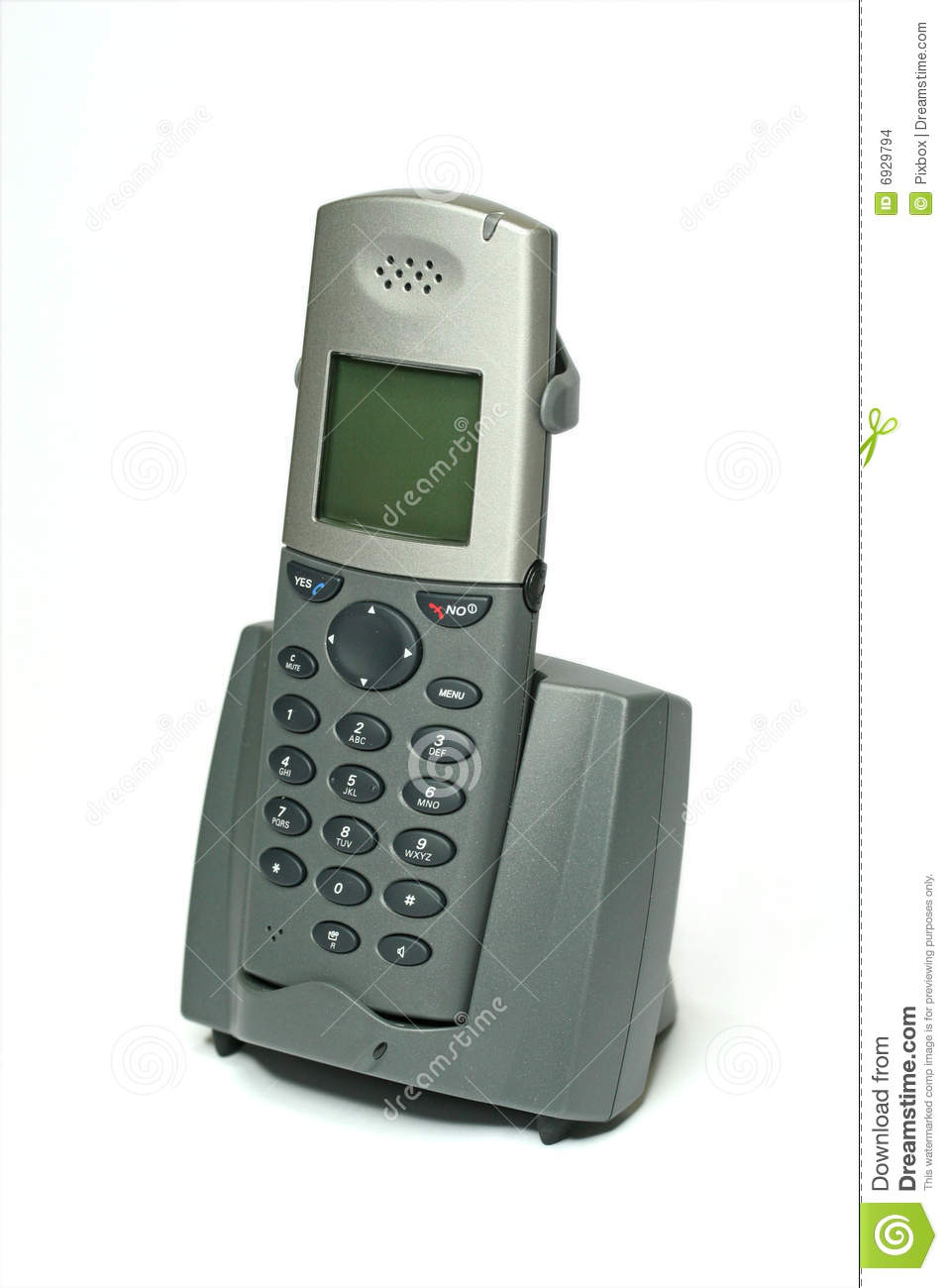 cordless phone with cradle on white stock images   image
