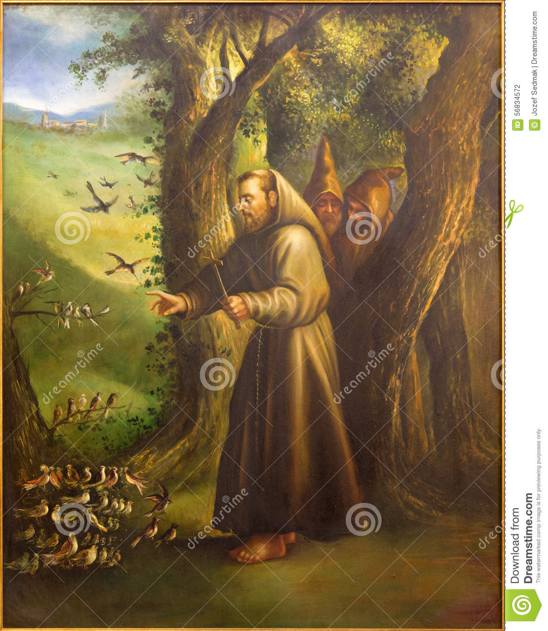 Cordoba - The Modern Paint Of St. Francis Of Assisi Preaching To The Birds Fr...