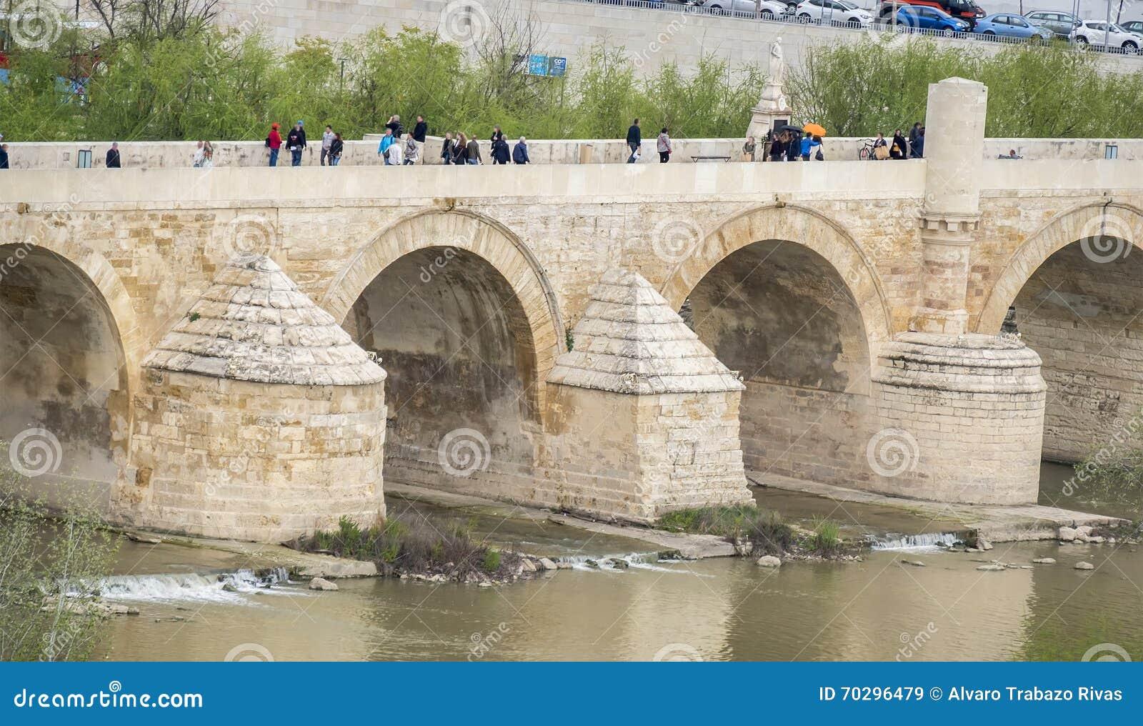 Cordoba Roman bridge over the river Guadalquivir, Spain