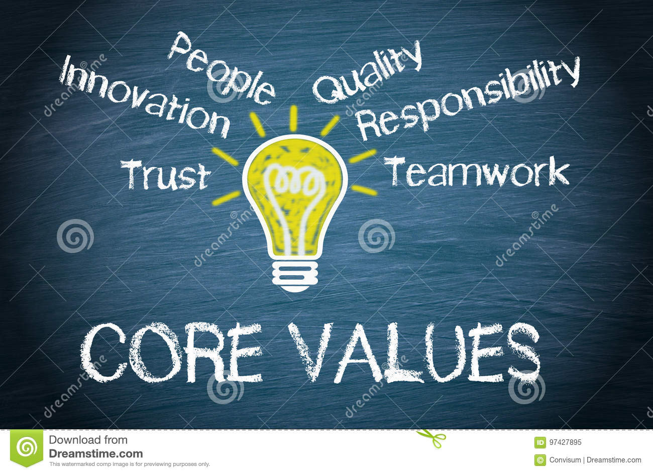 Core Values - business concept with light bulb and text