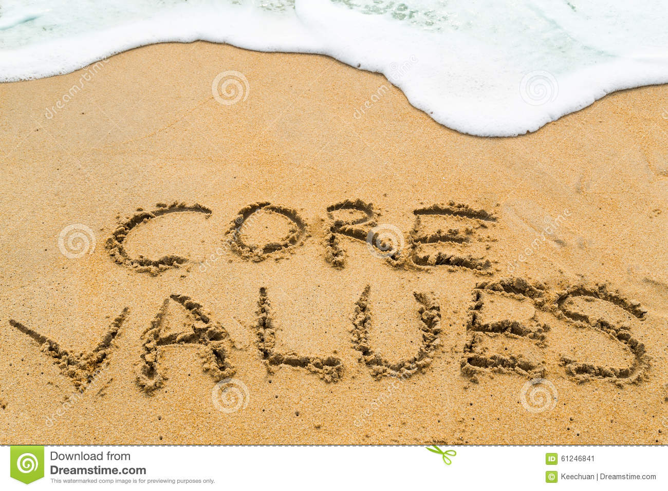 CORE VALUES inscription written on sandy beach with wave approac