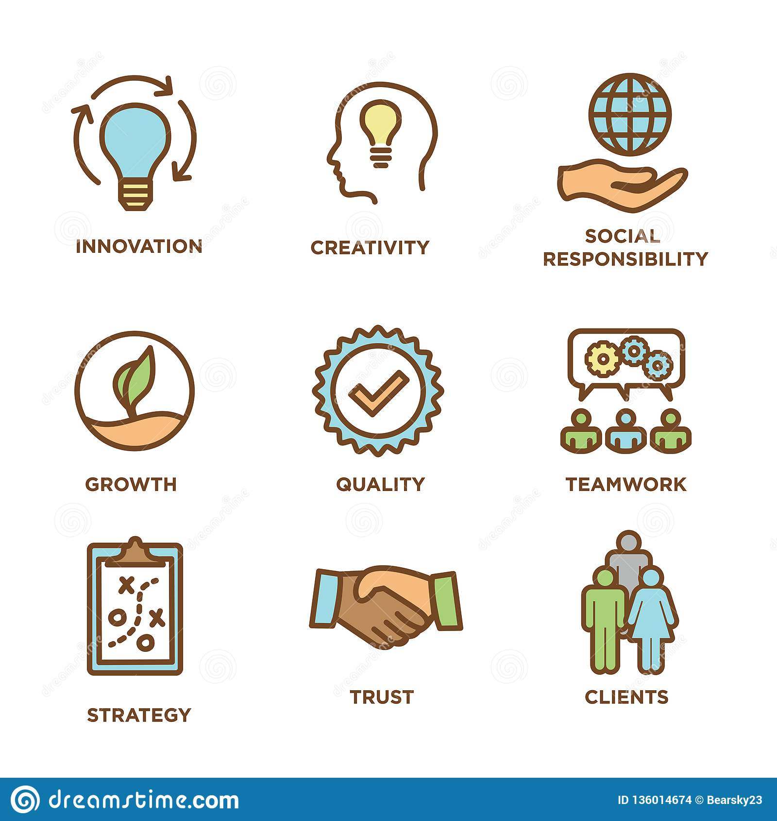 4e093183 Royalty-Free Vector. Core Values Outline / Line Icon Conveying Integrity -  Purpose