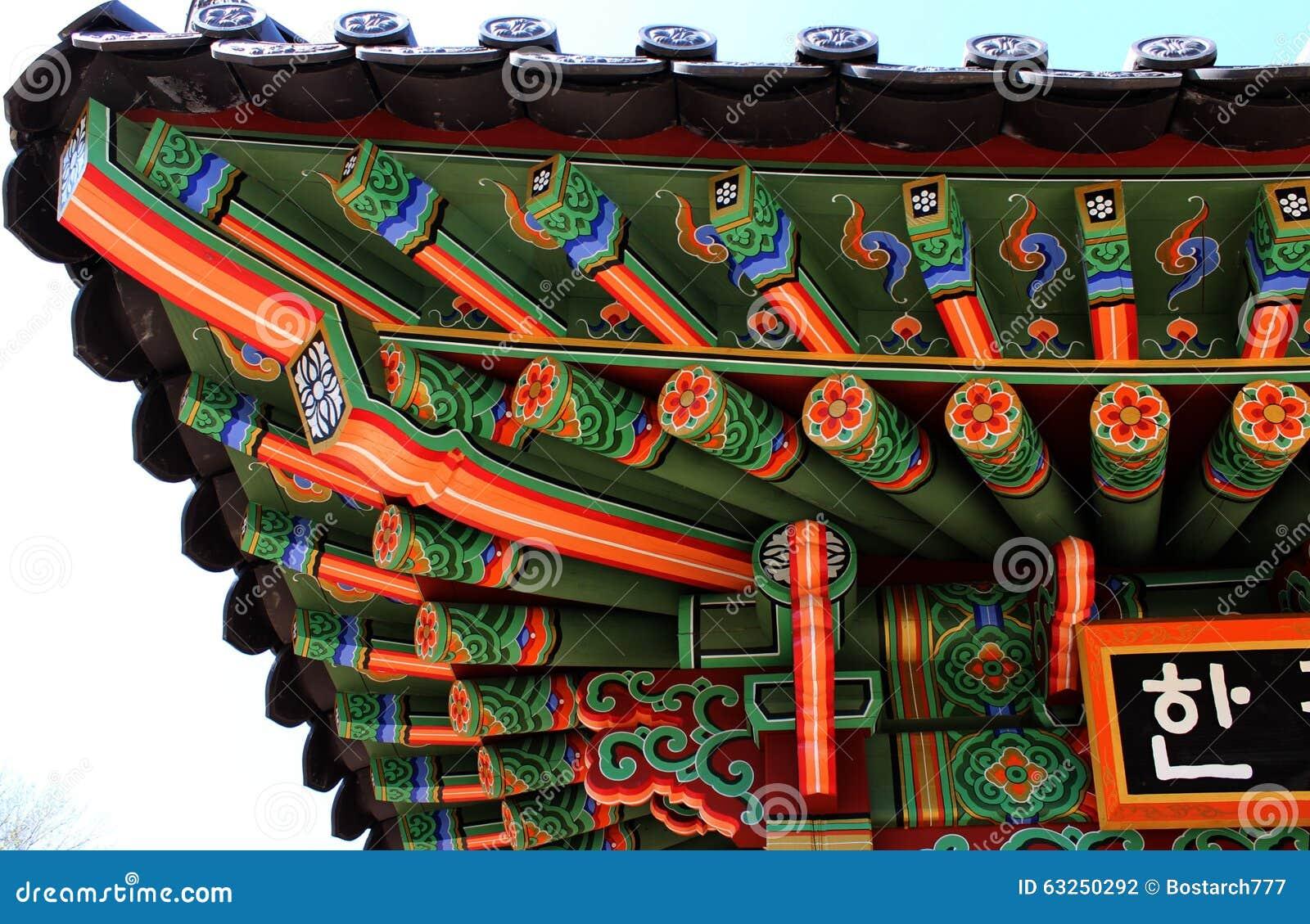 Coreano decorato artistico nell ambito degli elementi del tetto della casa del santuario con gli ornamenti tradizionali