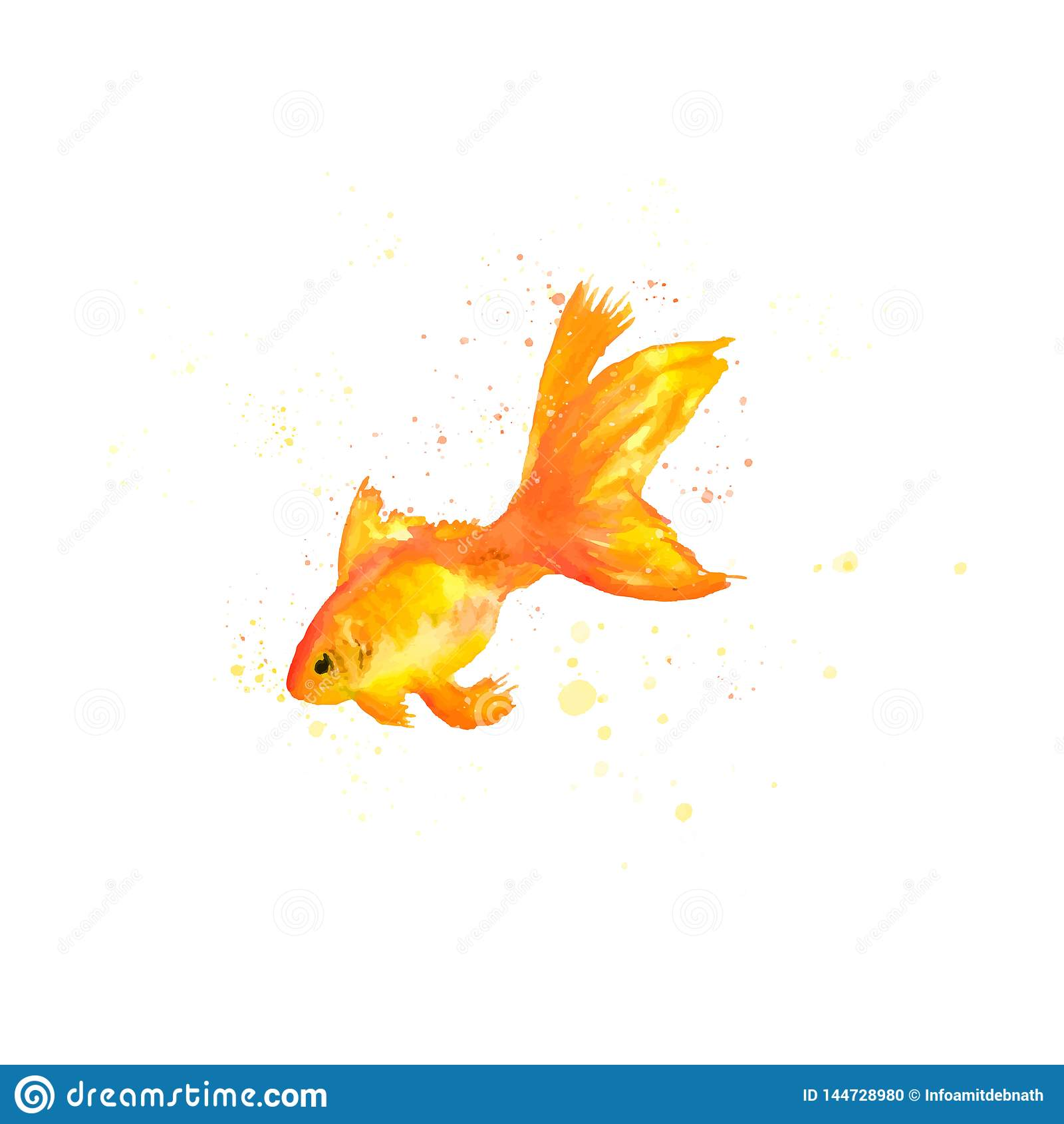 Рыбы золота акварели r произведение искусства зажима рыб золота акварели
