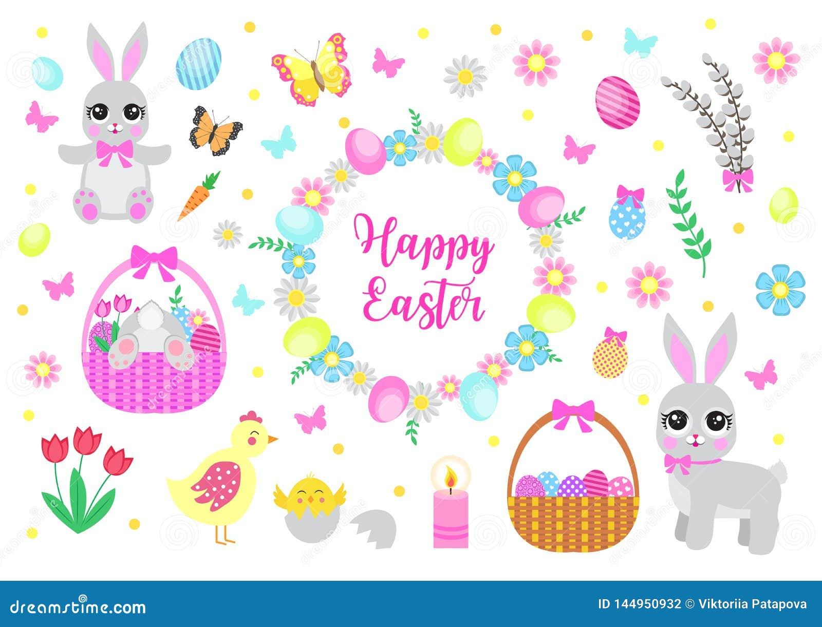 复活节快乐设置了对象,设计元素 与逗人喜爱的兔宝宝、花和复活节彩蛋的春天汇集 ??