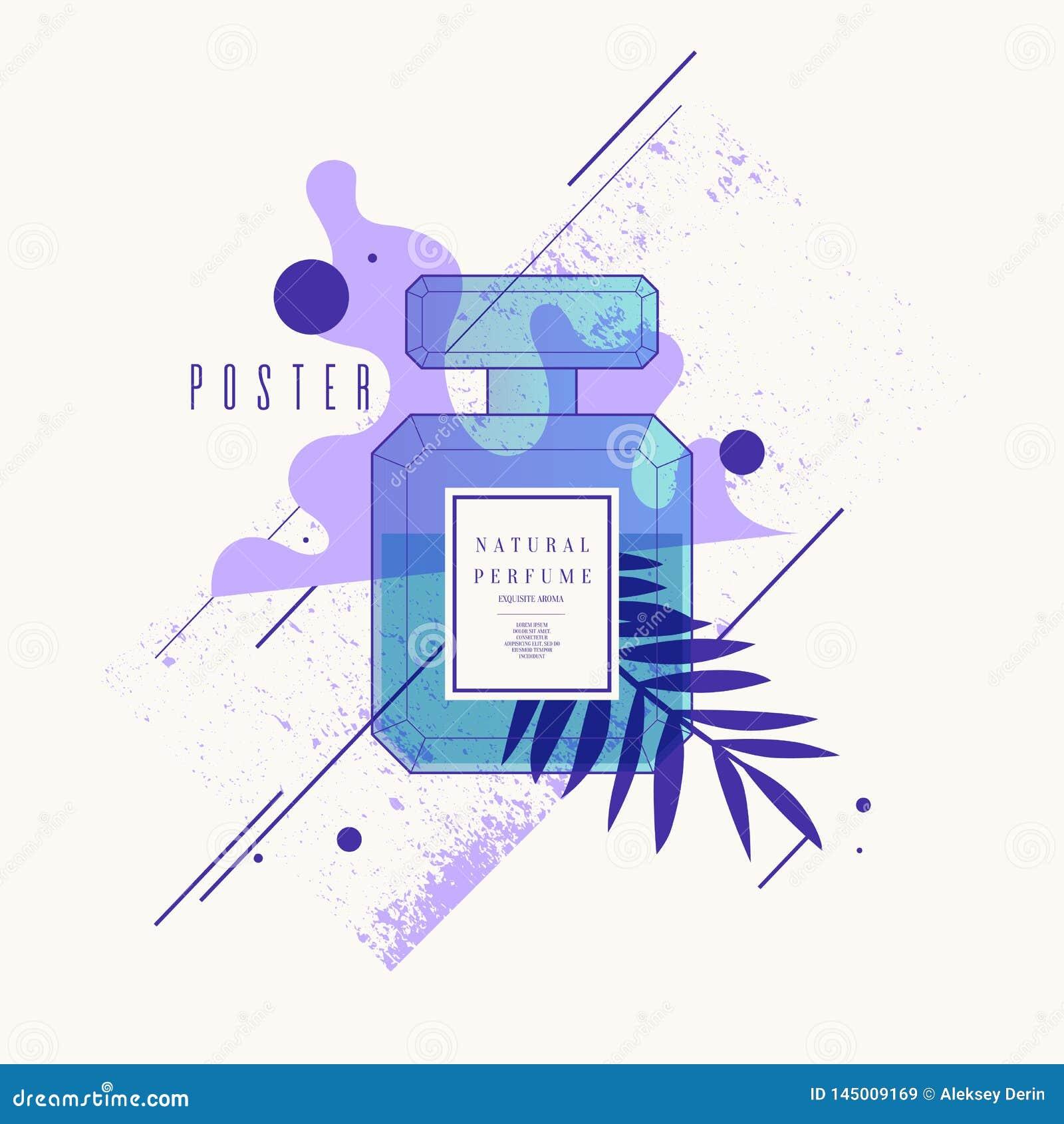 有几何样式的香水瓶 广告和销售芬芳的明亮的现代海报