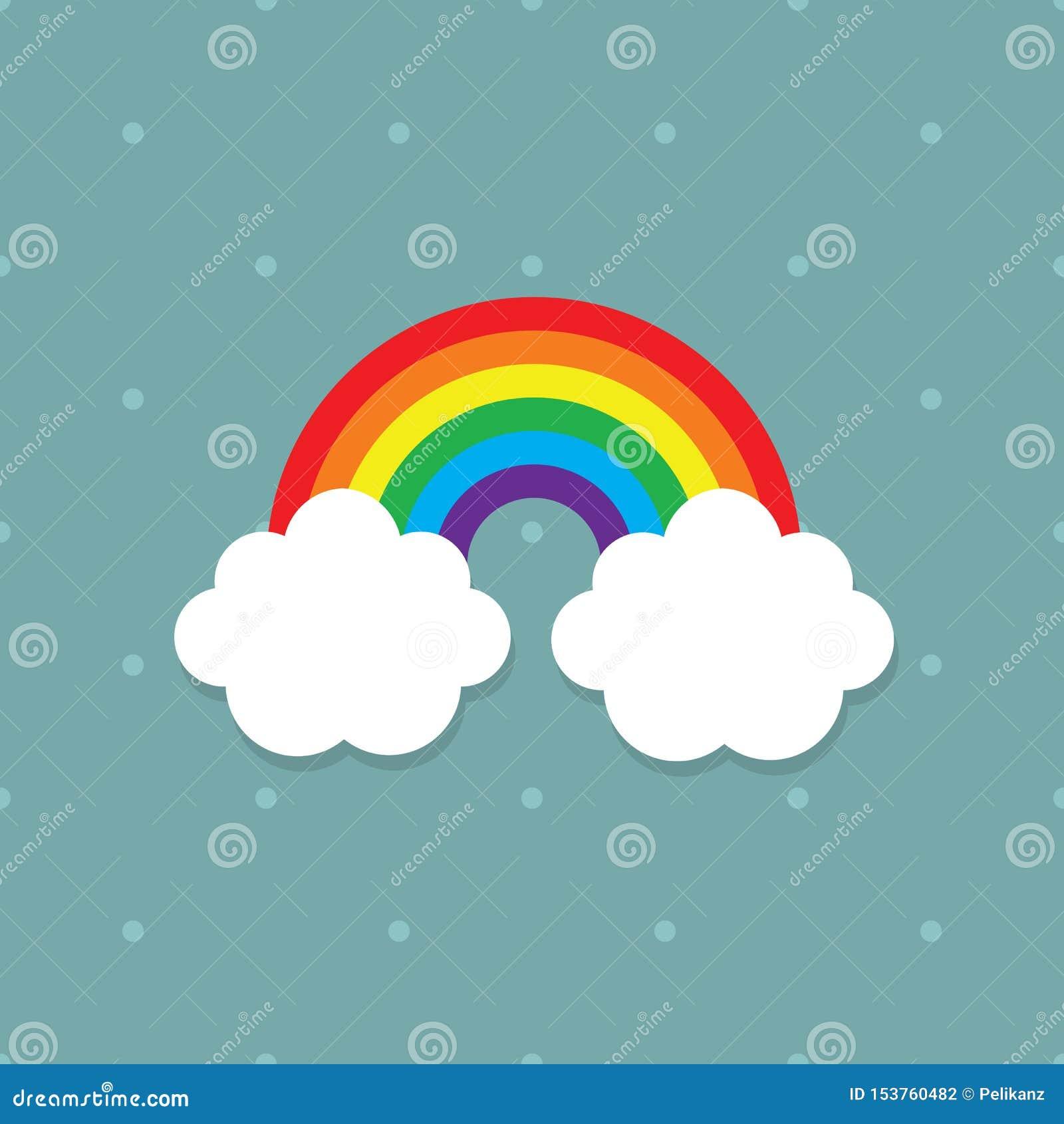 Cores abstratas bonitos do arco-íris das crianças com as nuvens brancas no fundo pontilhado azul da cerceta