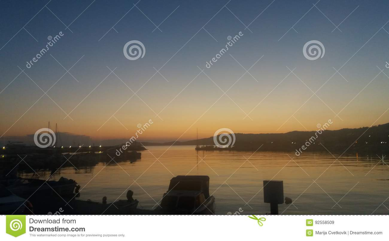 Cores da noite do céu do mar