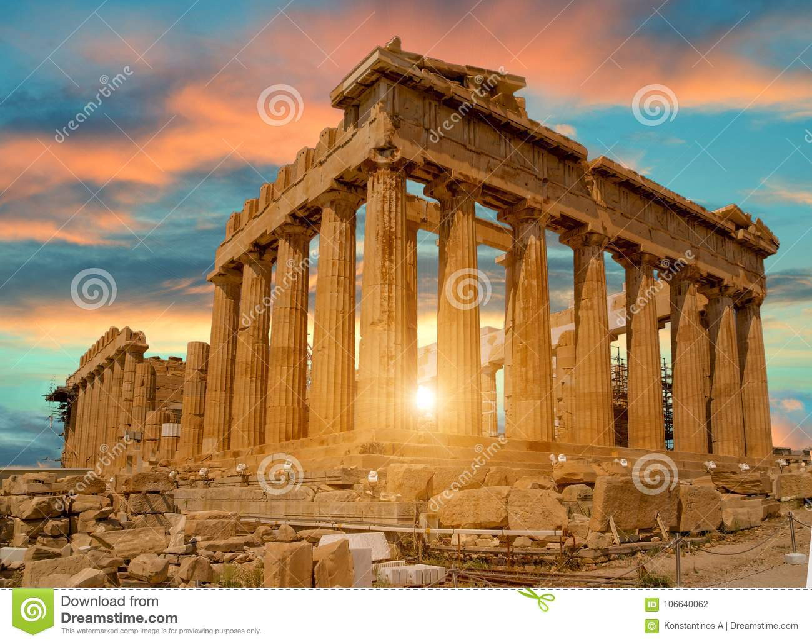 Cores do por do sol de Atenas greece do Partenon