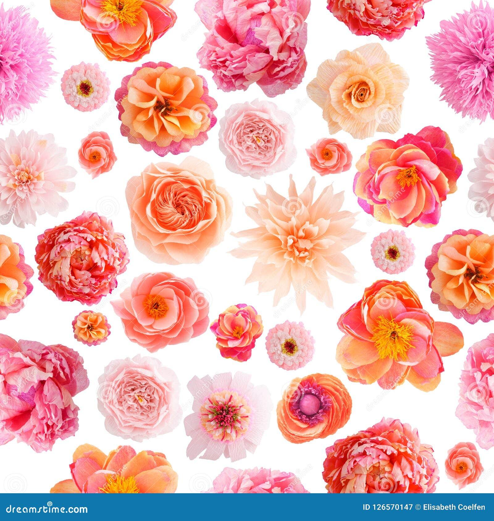 Cores Pastel Sem Emenda Do Teste Padrão Da Flor De Papel