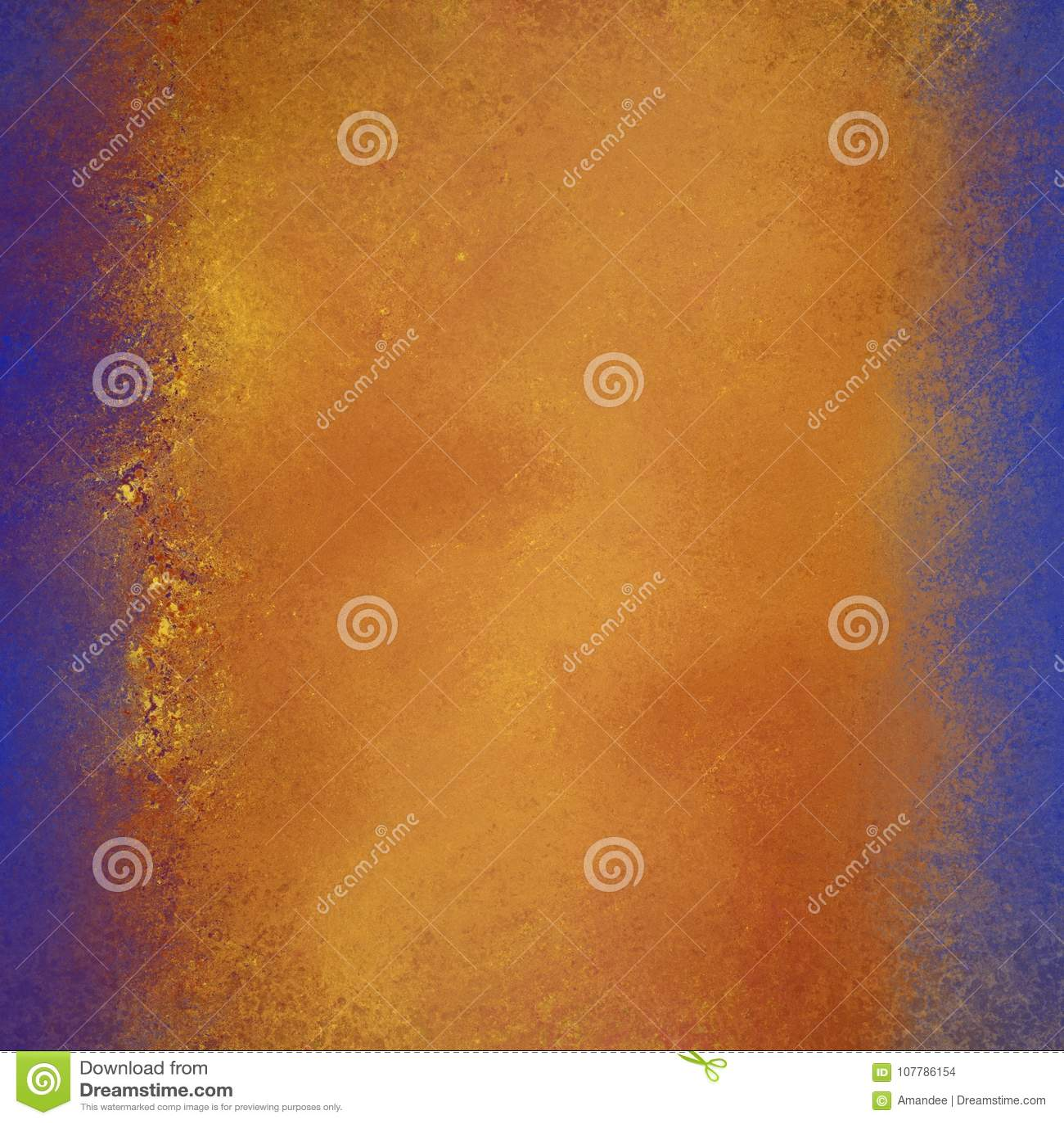 Cores vermelhas e alaranjadas do ouro morno no fundo abstrato com beiras azuis brilhantes e textura flecked do grunge