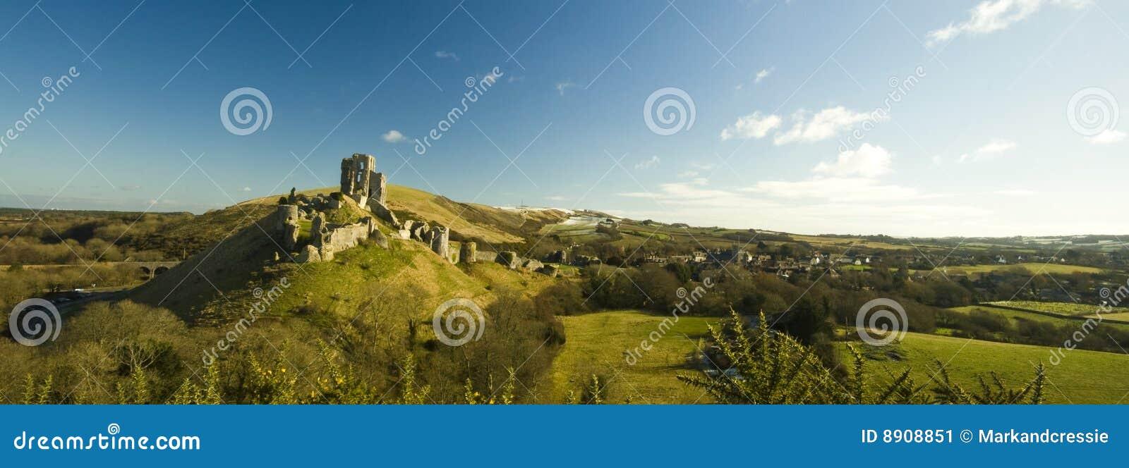 Corfe Castle ruins near Swanage in Dorset
