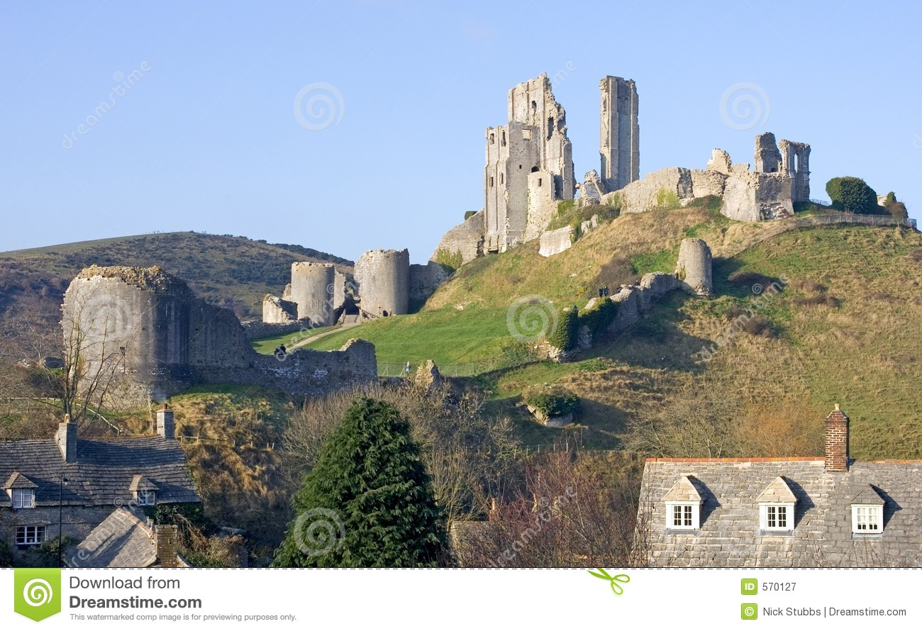 Corfe Castle, In Swanage, Dorset, Southern England Royalty Free Stock ...