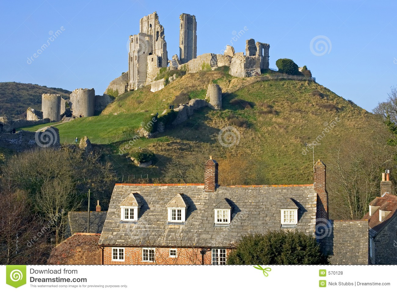Corfe Castle, in Swanage, Dorset, Southern England