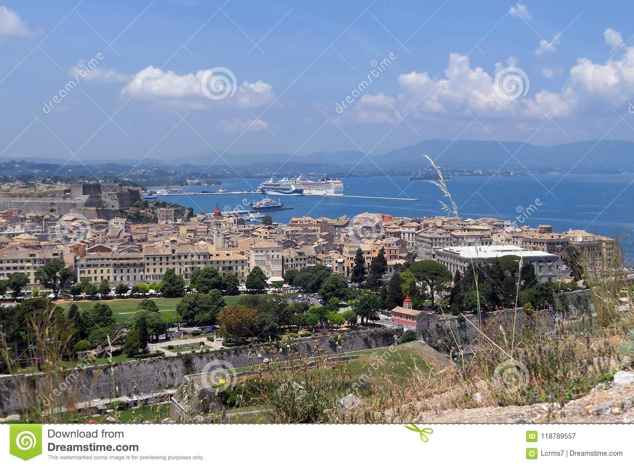 Cityscape of Corfu town Kerkyra with its historical houses and