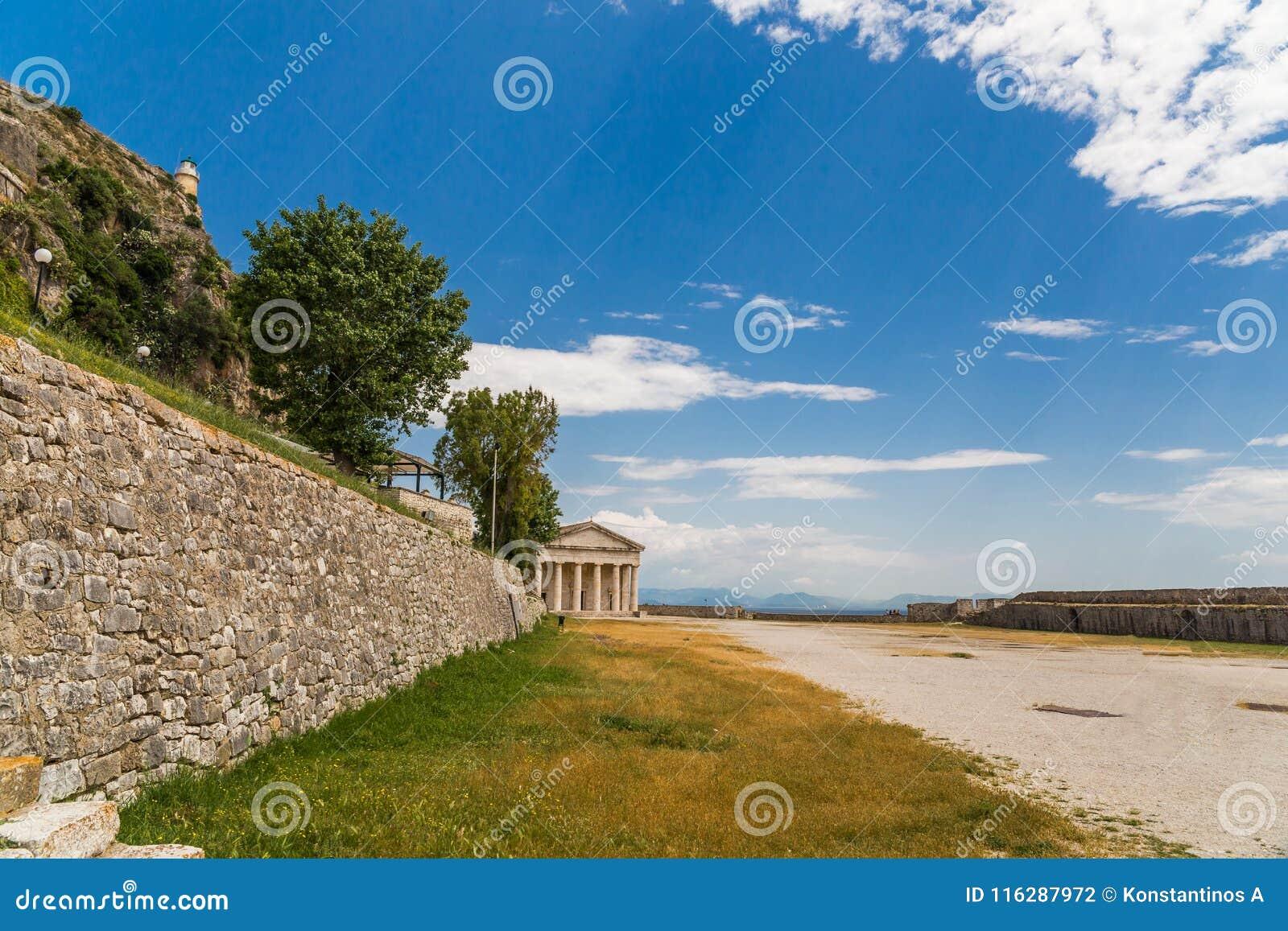 Corfu wyspy święty George w grodowym Greece
