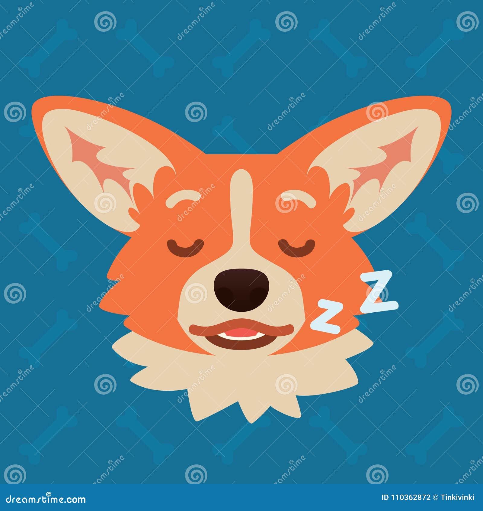 Corgi Dog Emotional Head  Vector Illustration Of Cute Dog In Flat