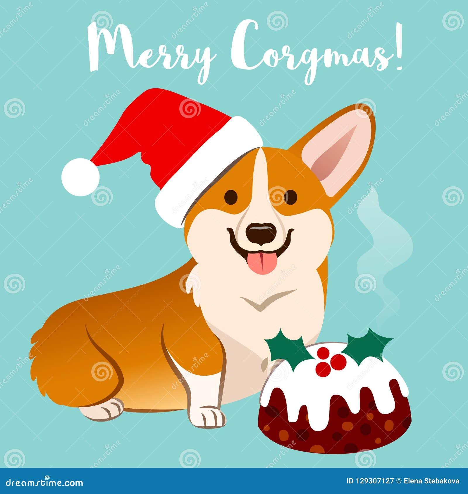 Corgi pies w Bożenarodzeniowym Santa kapeluszu z fruitcake wektorową kreskówką ja
