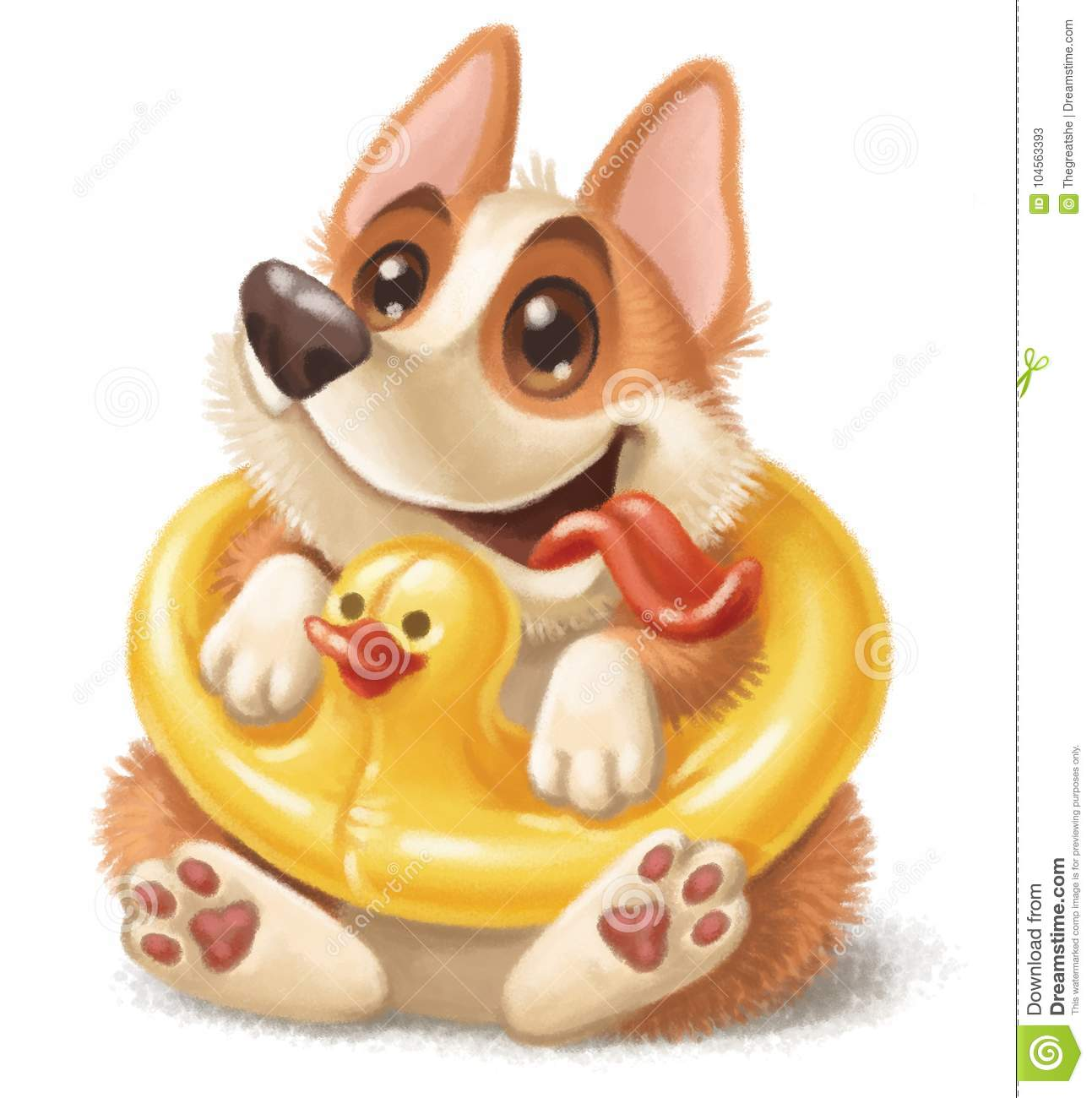 Corgi Puppy Sitting In A Yellow Duck Swimming Ring Stock Illustration Illustration Of Character Lifesaver 104563393