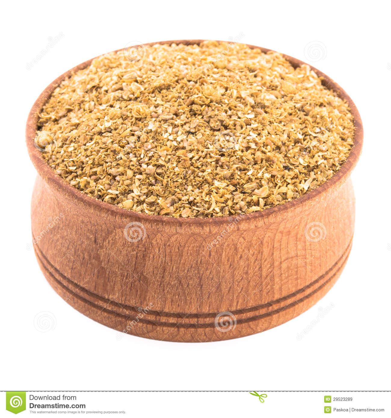 Coriander Spices In A Wooden Bowl Royalty Free Stock