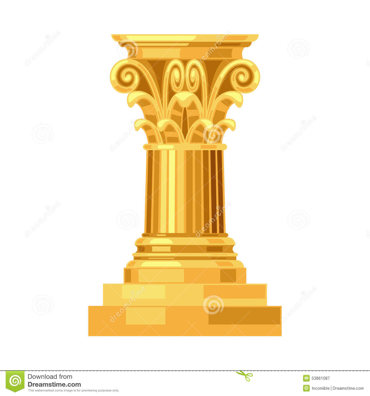 Corinthian realistic antique greek gold column Greek Columns Vector