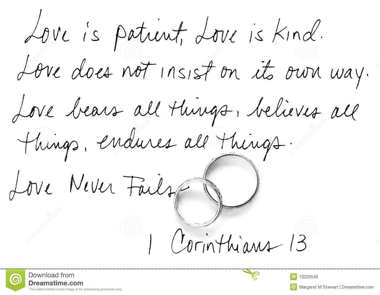 Wedding Reading Love Is Patient: Corinthians 13 Royalty Free Stock Images