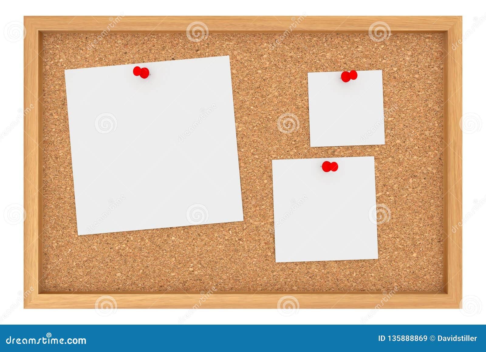 Cork Board With Three Blank folha de papel isolado no fundo branco