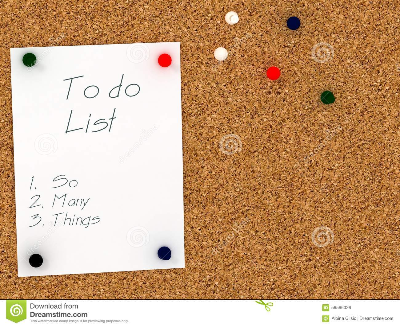 Cork Board With To Do List Template So Many Things Stock